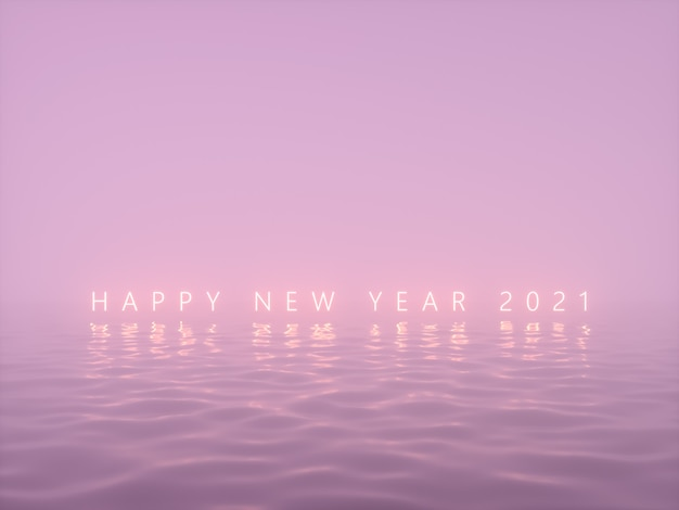 Happy new year neon text background