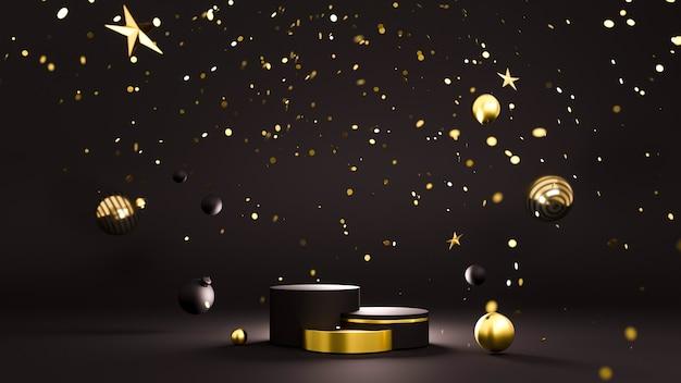 플랫폼 및 크리스마스 장식과 함께 행복 한 새 해 또는 크리스마스 배경
