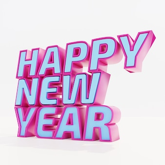 Happy new year pink blue bold letters high quality render on white
