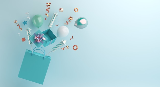 ショッピングバッグ花火風船紙吹雪で新年あけましておめでとうございますセール装飾