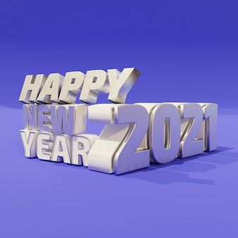 Happy new year silver bold letters high quality render isolated