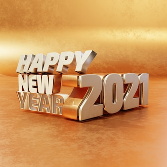 Happy new year silver golden bold letters high quality render isolated on wooden background