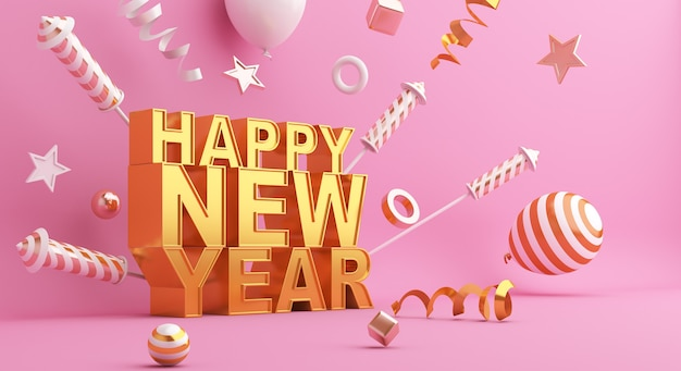 Happy new year text decoration with firework balloon ribbon