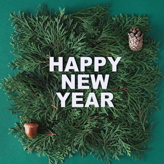 С новым годом текст из белой бумаги на ветвях туи с желудь и шишкой.
