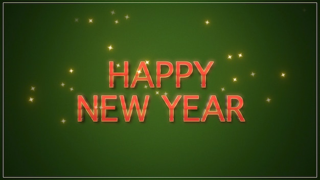 緑の背景に新年あけましておめでとうございますのテキスト。冬の休日のための豪華でエレガントなダイナミックスタイルの3dイラスト