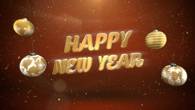 Happy new year text, white snowflakes and gold balls on retro background. luxury and elegant dynamic style 3d illustration for winter holiday