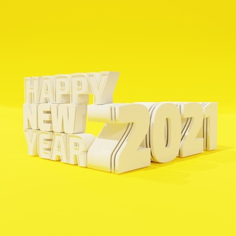 Happy new year white bold letters high quality render isolated on yellow