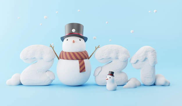 Happy new year with snow and snowman