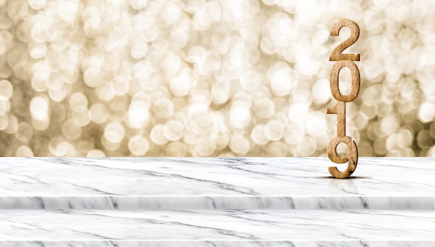 Happy new year wood 2019 (3d rendering ) on step white marble table with sparkling gold bo