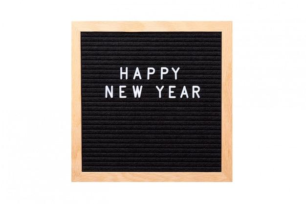 白で隔離されるレターボード上の幸せな新年の言葉
