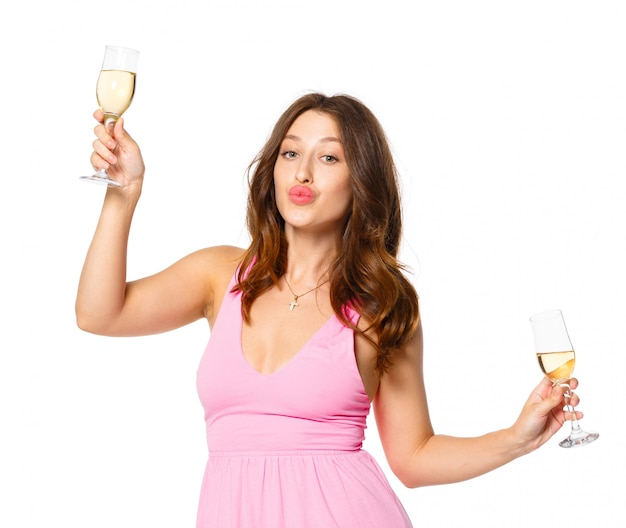 Happy new year to you. one young and beautiful woman dancing with glass of champagne