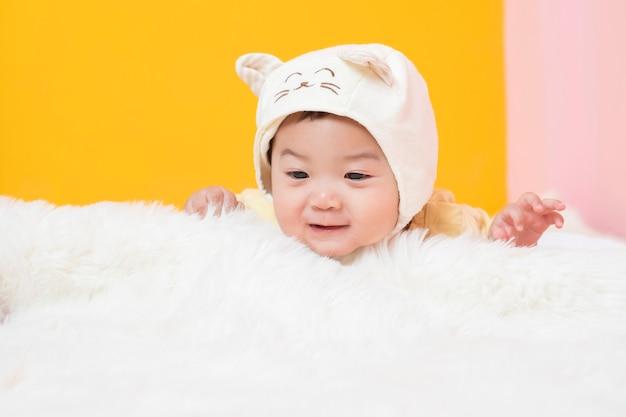 Happy newborn cute baby