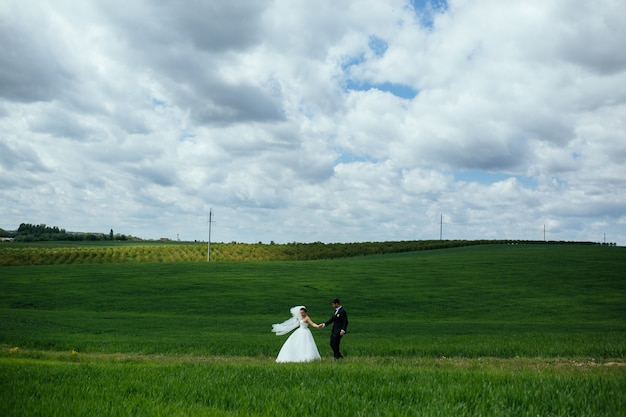 초원에서 신혼 부부