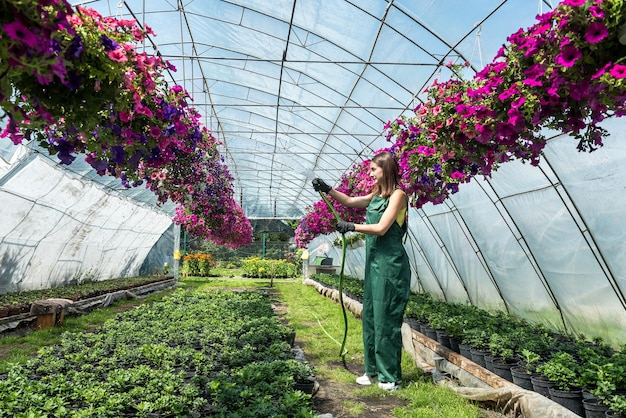 Happy  owner of a flower farm watering and taking care flowers Premium Photo