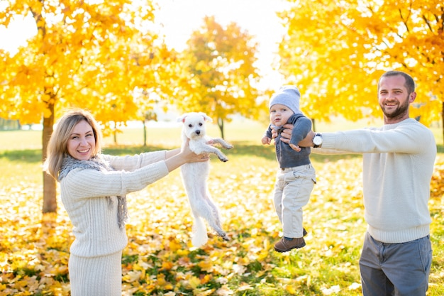 Happy parents with their baby and little puppy spending time at nature in sunny day