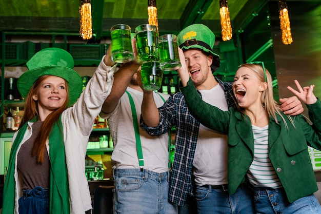 Happy people celebrating st. patrick's day