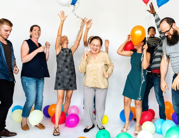 Happy people with balloons
