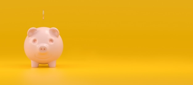 Happy pink piggy bank with a falling coin on a yellow panoramic background on the left there is an empty space for the text. concept of saving money. 3d rendering.