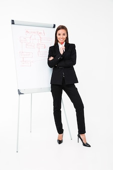 Happy pretty businesswoman near business plan and showing it