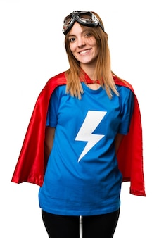 Счастливая красивая девушка-супергероя