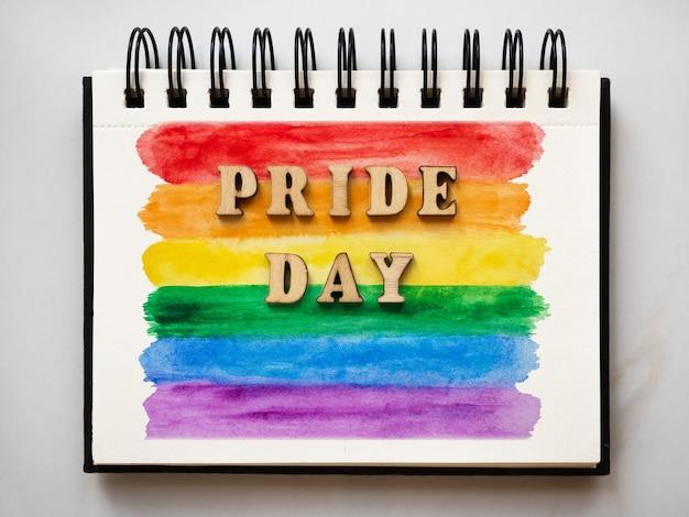 С днем гордости. концепция праздника. крупным планом, вид сверху. поздравления родным, близким, друзьям и коллегам