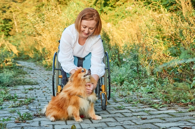 Happy red-haired woman in a wheelchair for a walk with her dog, enjoying sunny weather in the fall.