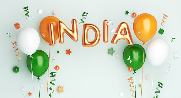 Happy republic day of india or independence day decoration background with balloon and text