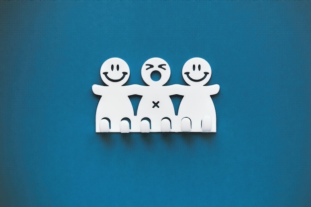 Happy and sad smiles. white plastic figures on blue background