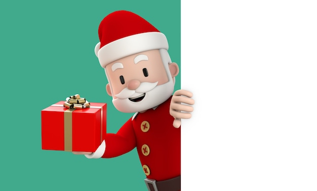 Happy santa claus holding red gift box behind the white signboard with copy space on green background. christmas and new year concept. 3d render.