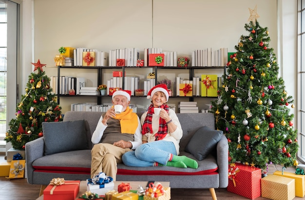 Happy senior caucasian couple in santa hat sitting together on sofa couch holding hot drink at home with decorated christmas tree and gifts in cozy living room. relax holiday.