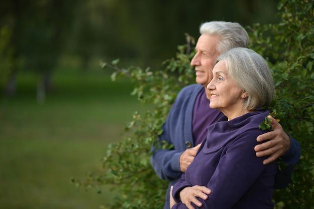 Счастливая пара старших танцует в летнем парке