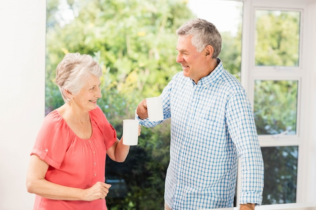 Happy senior couple toasting with cups at home