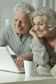 집에서 노트북으로 행복한 노부부