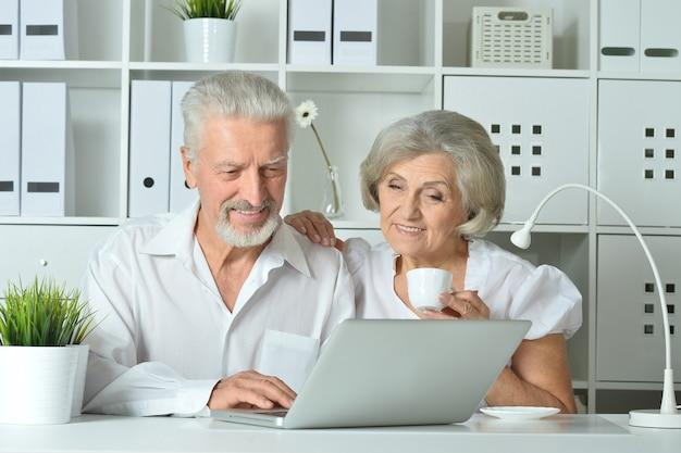 オフィスでラップトップと幸せな年配のカップル