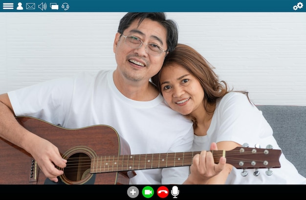 Happy senior people talking on internet video call at home