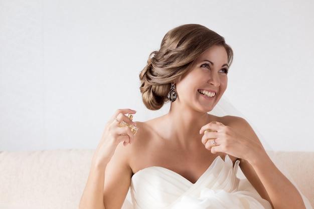 Happy sexy beautiful bride
