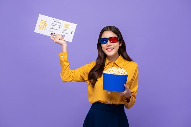 Happy smiling asian woman with 3d glasses popcorn and movie ticket