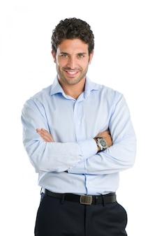 白い背景で隔離の満足度でカメラを見て幸せな笑みを浮かべて実業家