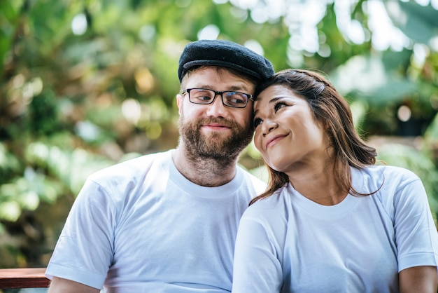 Happy smiling couple diversity in love moment together