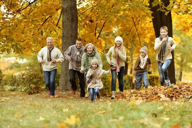 Счастливая улыбающаяся семья, расслабляющаяся в осеннем лесу