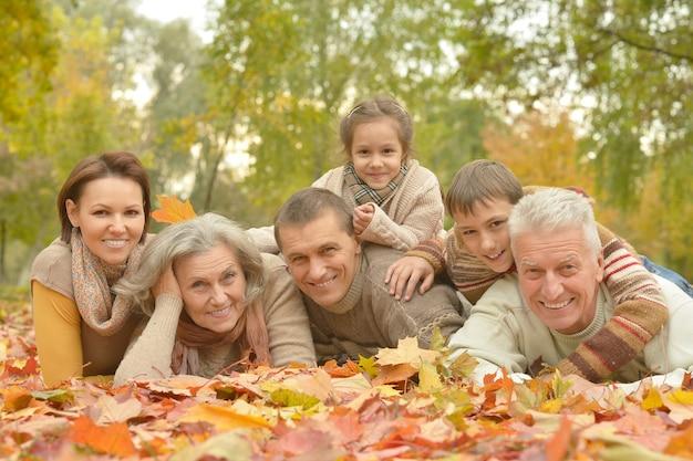 秋の森でリラックスした幸せな笑顔の家族