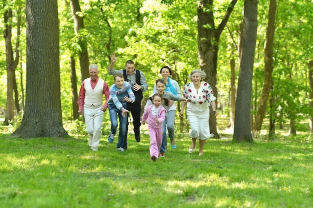 Счастливая улыбающаяся семья в лесу