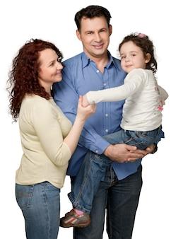 Счастливая улыбающаяся семья с девушкой малыша, изолированной на белом фоне