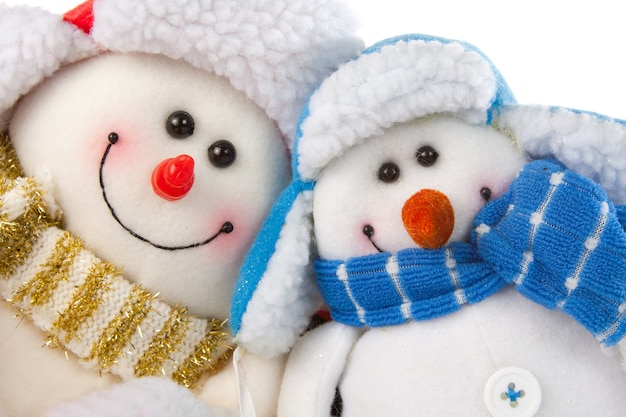 Happy smiling snowman couple. isolated on white