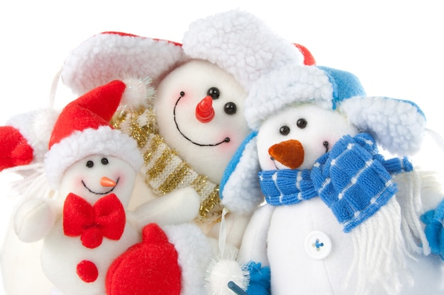 Happy smiling snowman family. isolated on white