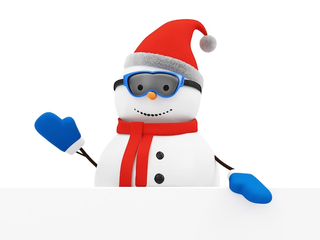 空白のボードで幸せな雪だるまの挨拶