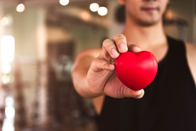 Happy sport man holding red heart in fitness gym club. medical cardio heart strength training lifestyle.