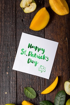 Happy st. patrick's day card with food and lucky clover