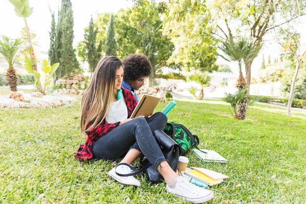Happy student couple reading book in park on spring day