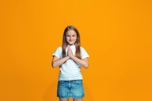 幸せな成功の十代の少女